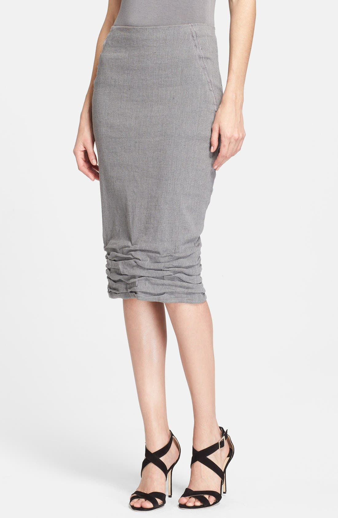Main Image - Donna Karan Collection Linen Blend Midi Skirt