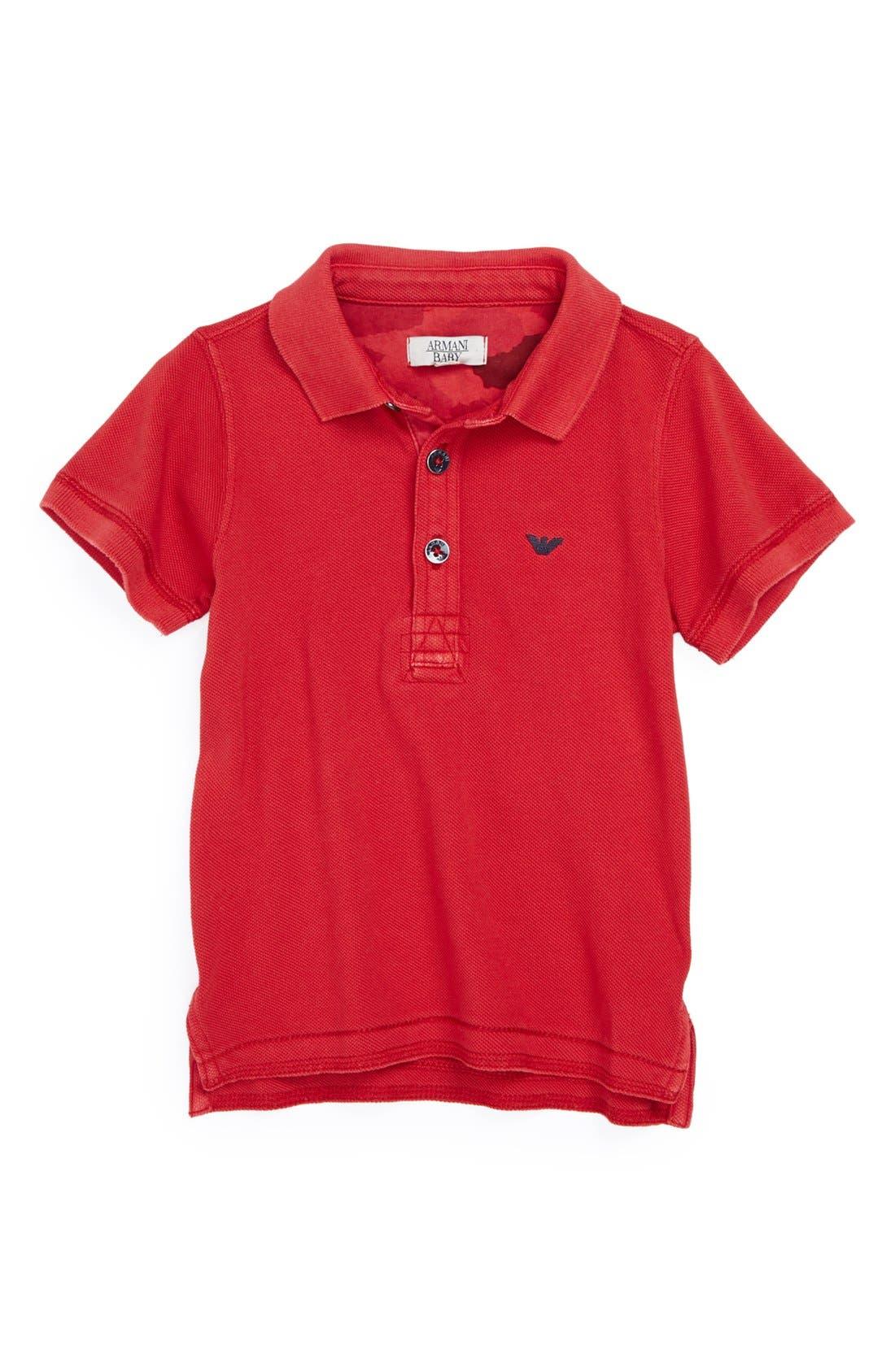 Main Image - Armani Junior Cotton Logo Polo (Baby Boys)