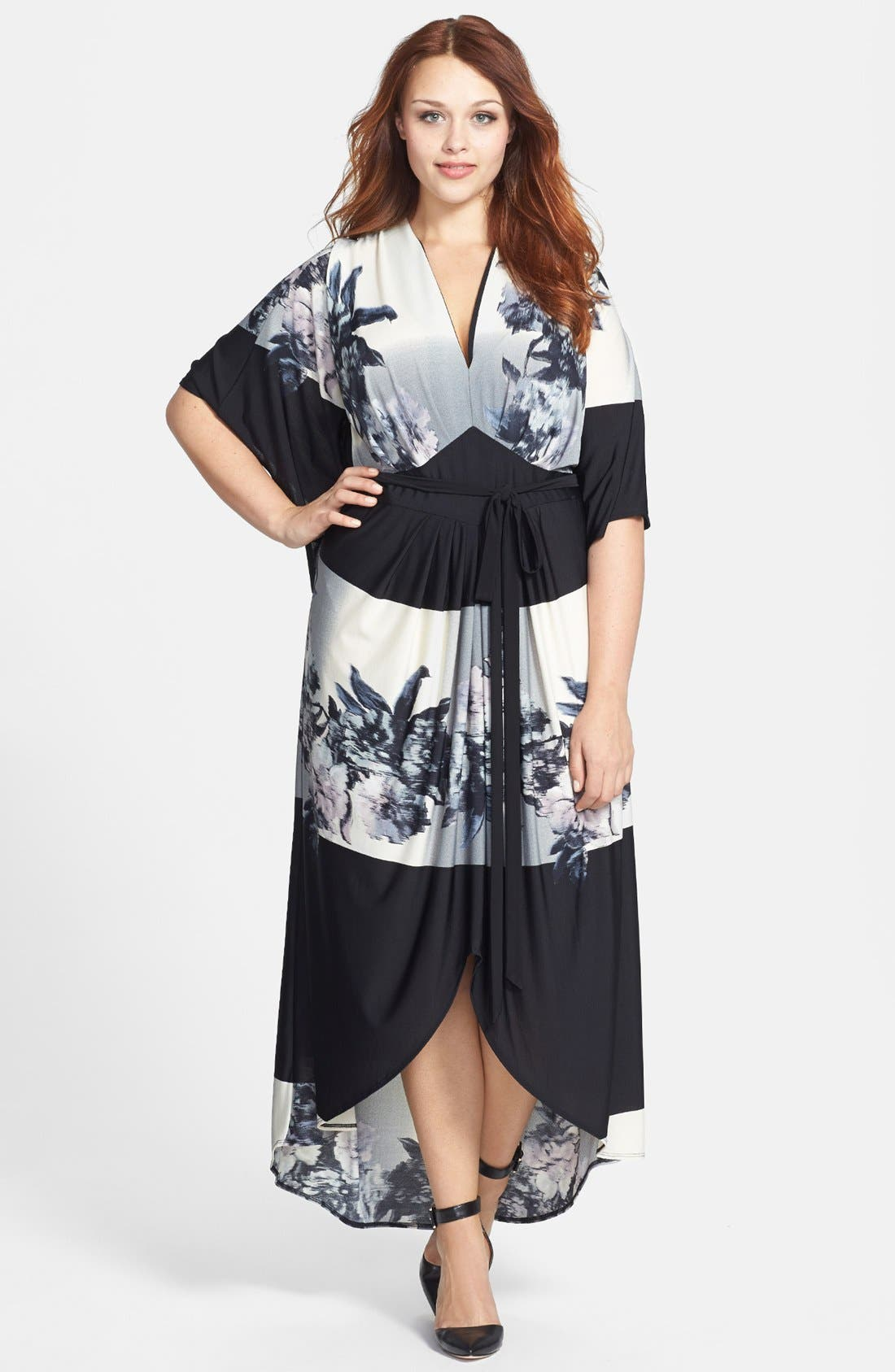 Main Image - ABS by Allen Schwartz 'Kaftan' Printed High/Low Maxi Dress (Plus Size)