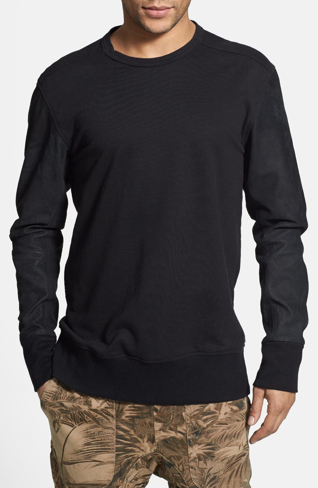 Alternate Image 1 Selected - ZANEROBE 'Primal' Crewneck Sweatshirt with Suede Sleeves
