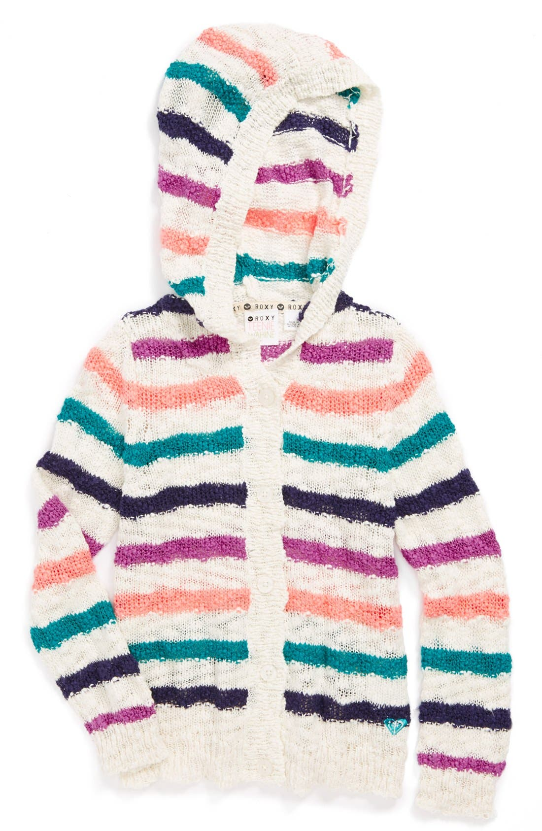 Main Image - Roxy 'Camden' Hooded Sweater (Toddler Girls)