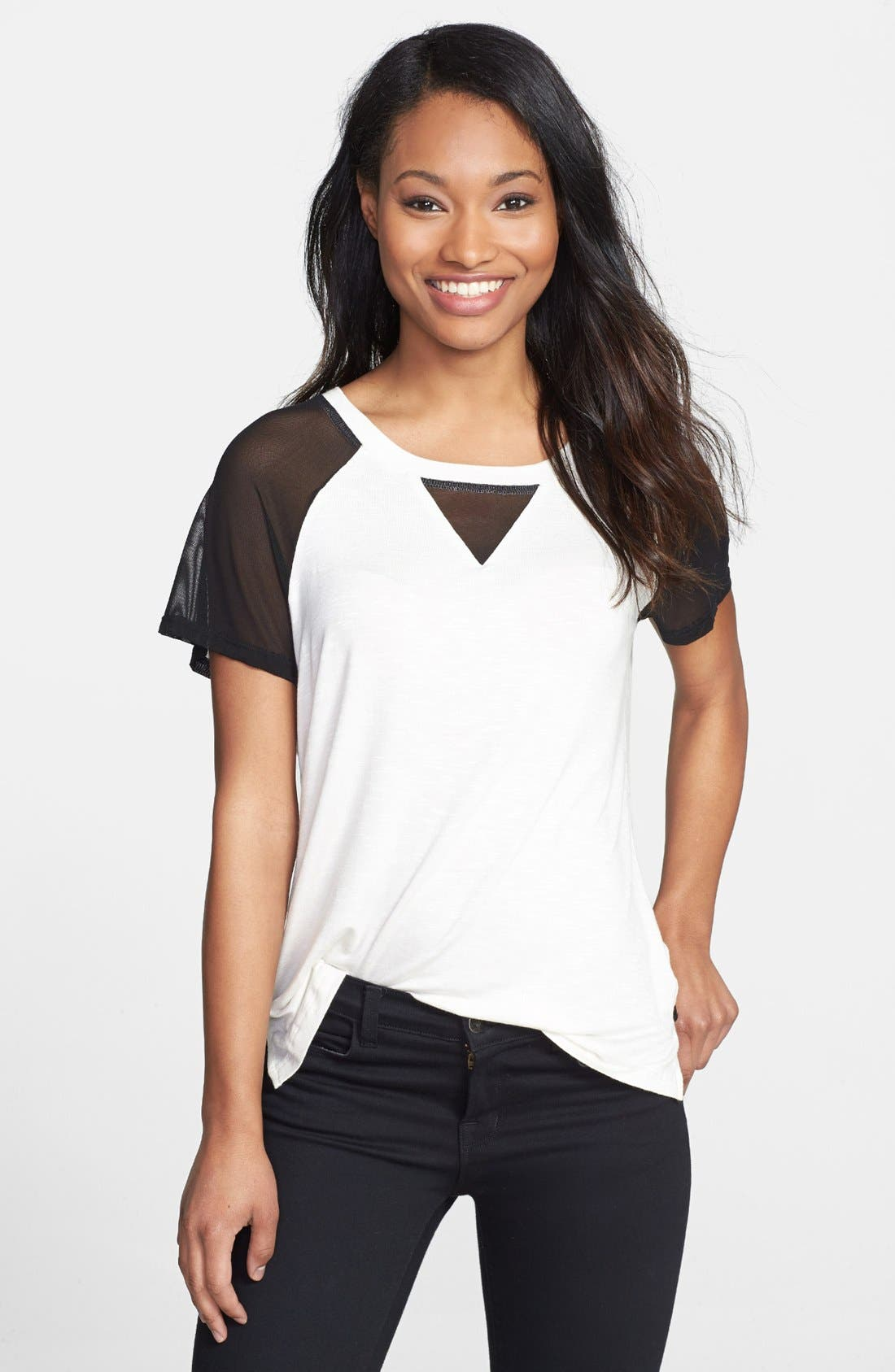 Alternate Image 1 Selected - Pleione Mesh Sleeve Knit Top