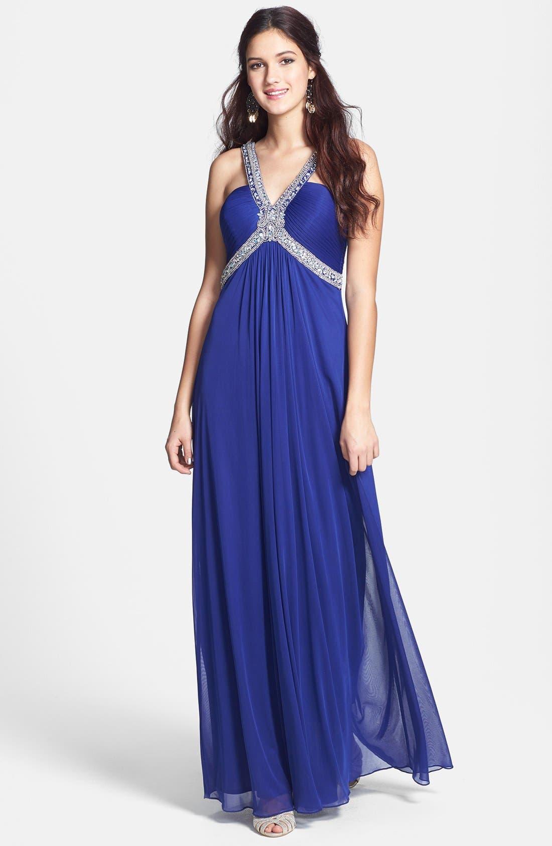 Main Image - Xscape Embellished Chiffon Mesh Gown