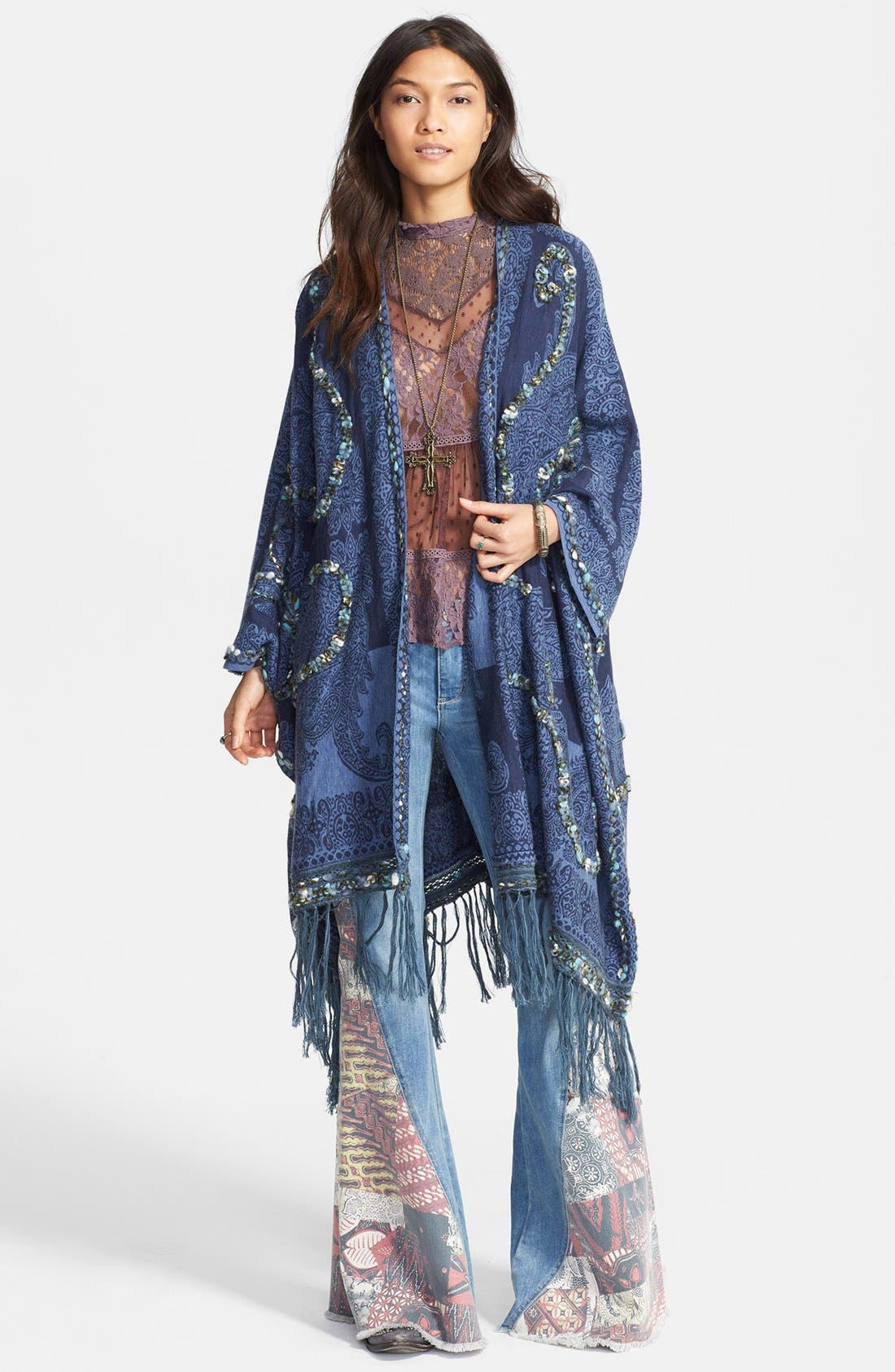 Main Image - Free People Embroidered Fringe Cardigan