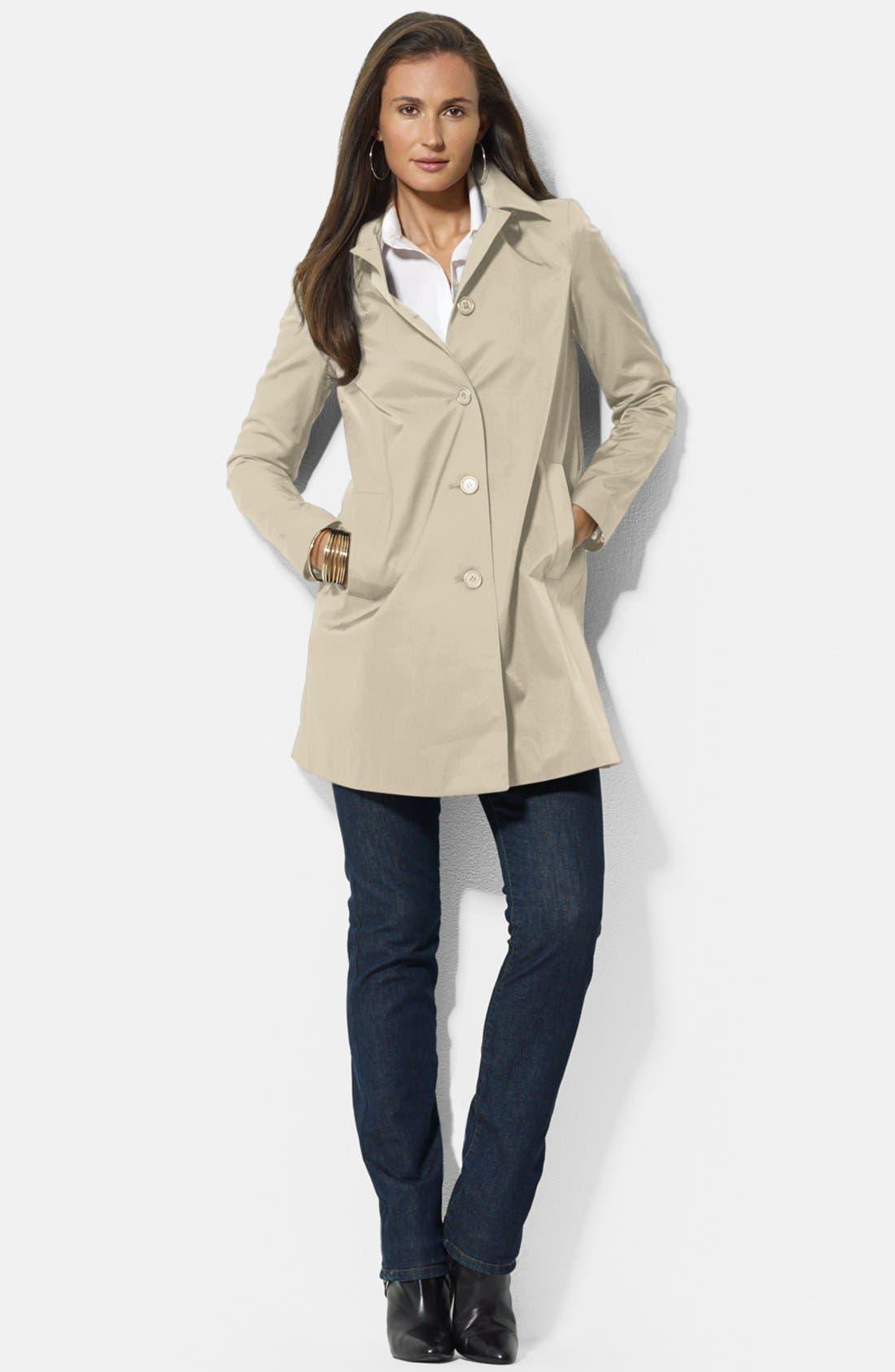 Main Image - Lauren Ralph Lauren Bonded Cotton A-Line Jacket with Detachable Hood