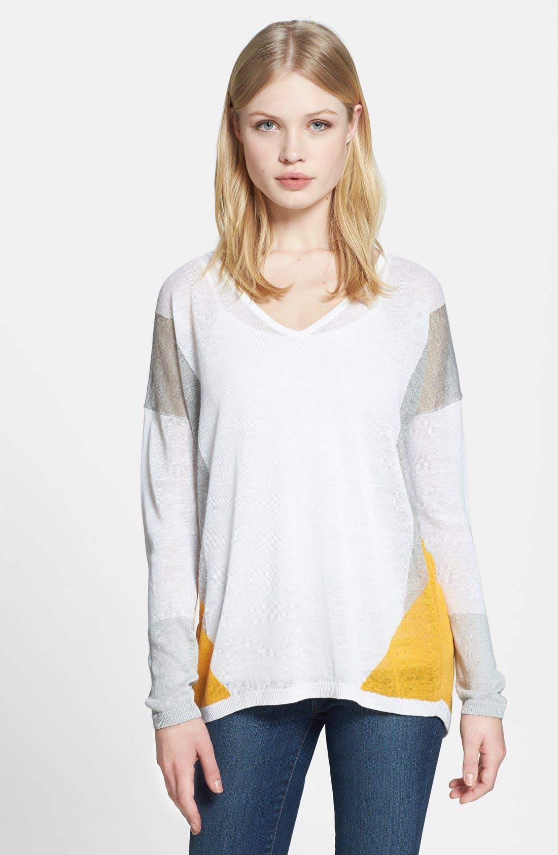 Main Image - Trouvé Sheer Colorblock Sweater
