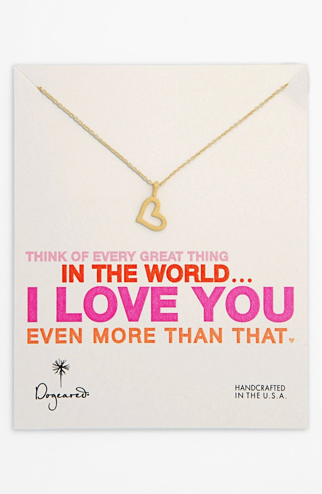 Alternate Image 1 Selected - Dogeared 'Every Great Thing' Boxed Heart Pendant Necklace