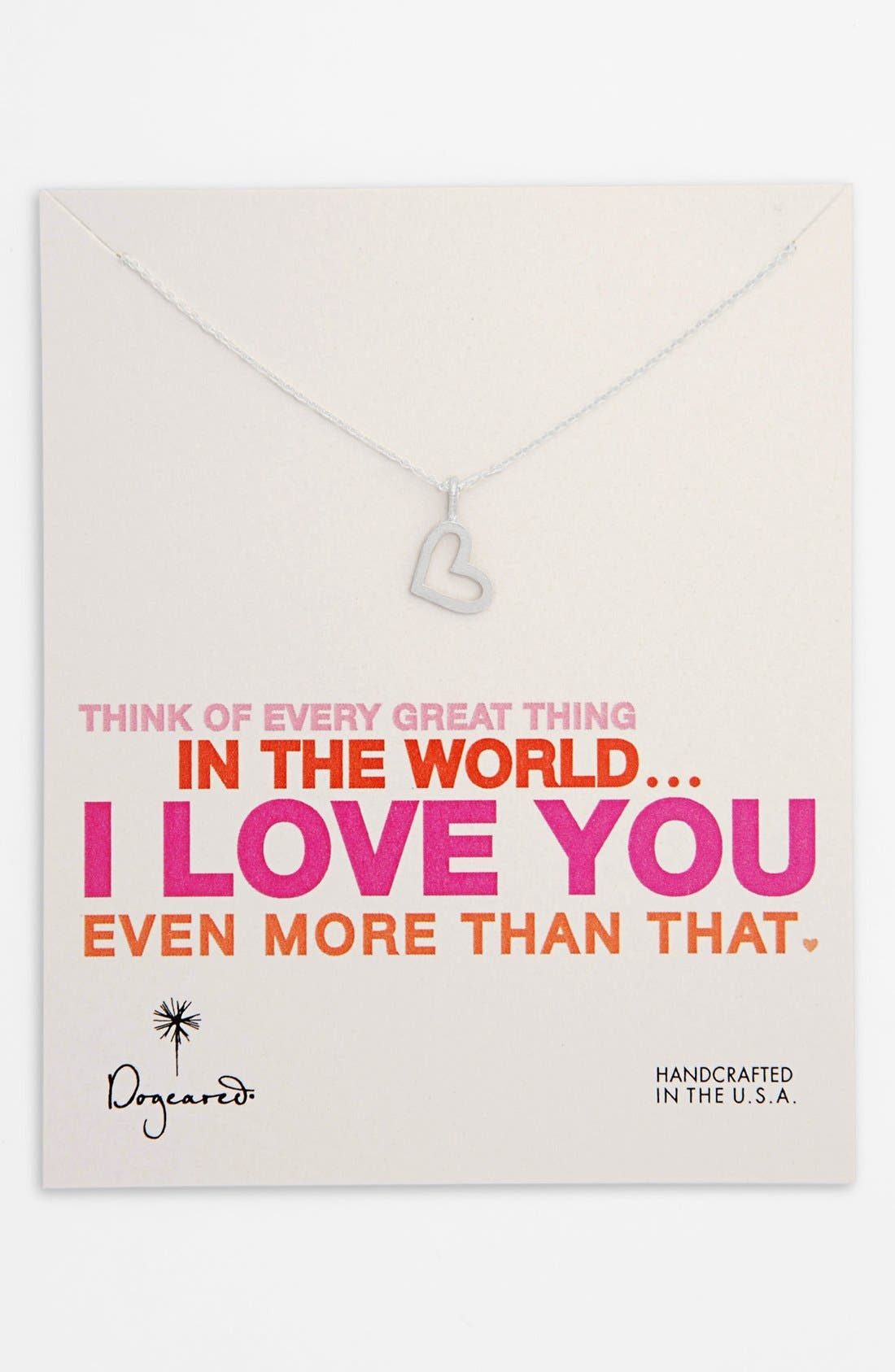 Main Image - Dogeared 'Every Great Thing' Boxed Heart Pendant Necklace