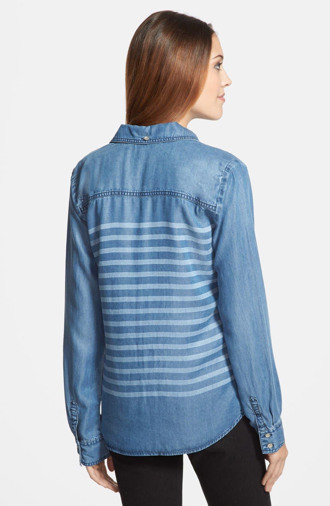 Alternate Image 2  - Halogen® Stripe Chambray Shirt