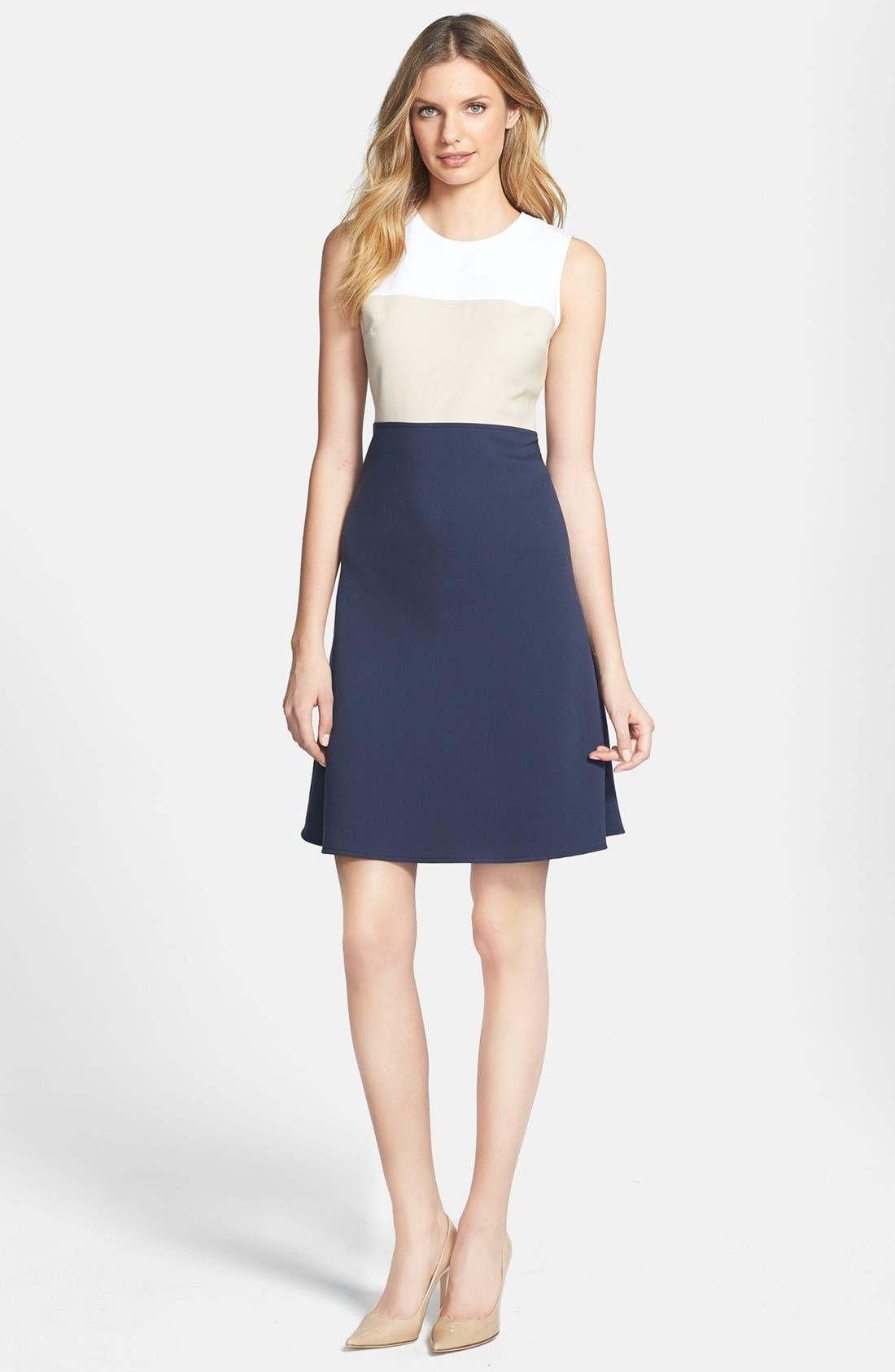 Main Image - MICHAEL Michael Kors Colorblock Fit & Flare Dress (Regular & Petite)