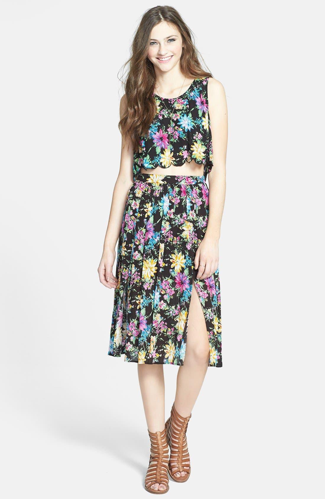 Double Front Slit Midi Skirt,                             Alternate thumbnail 3, color,                             Black Floral