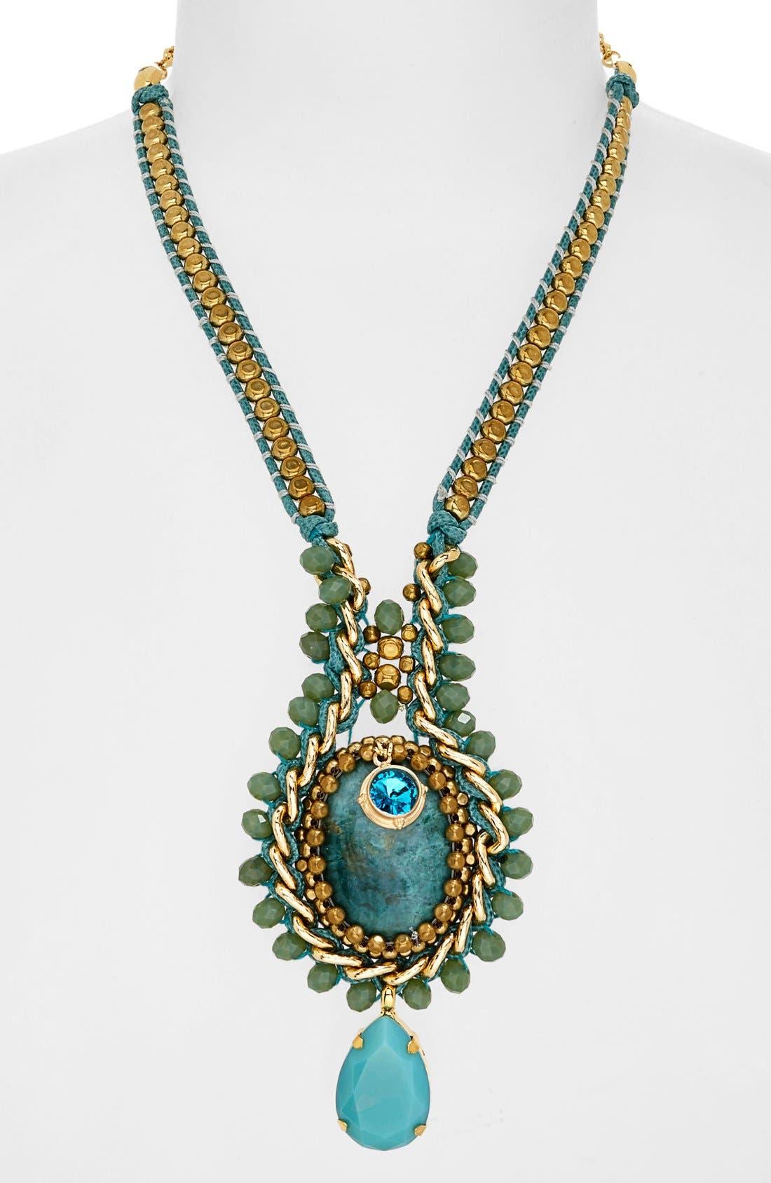 Alternate Image 1 Selected - ZENZII Mint Crystal Pendant Necklace