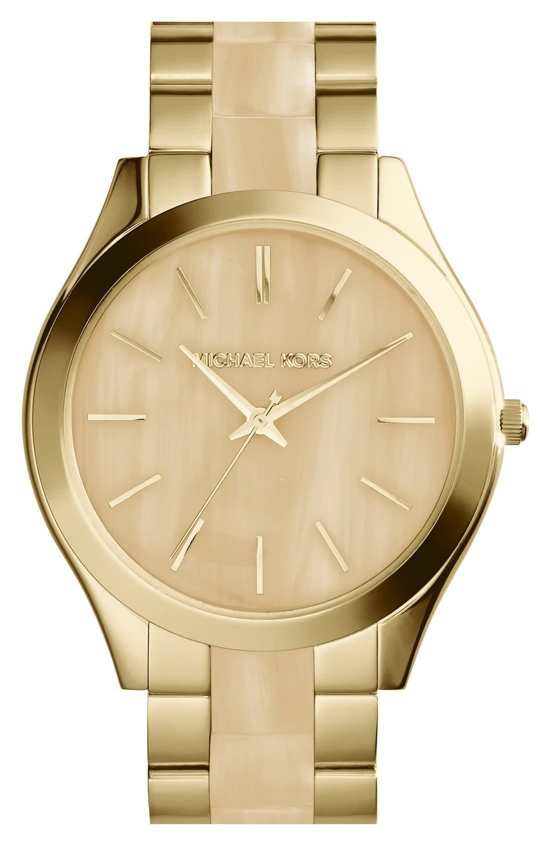 Alternate Image 1 Selected - Michael Kors 'Slim Runway' Round Bracelet Watch, 42mm