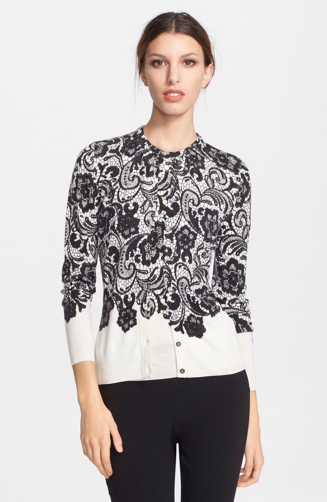 Main Image - Dolce&Gabbana Stamped Lace Wool Cardigan