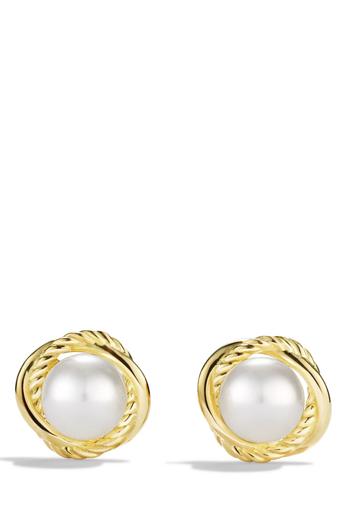 'Infinity' Earrings with Pearls in Gold,                             Alternate thumbnail 2, color,                             Pearl