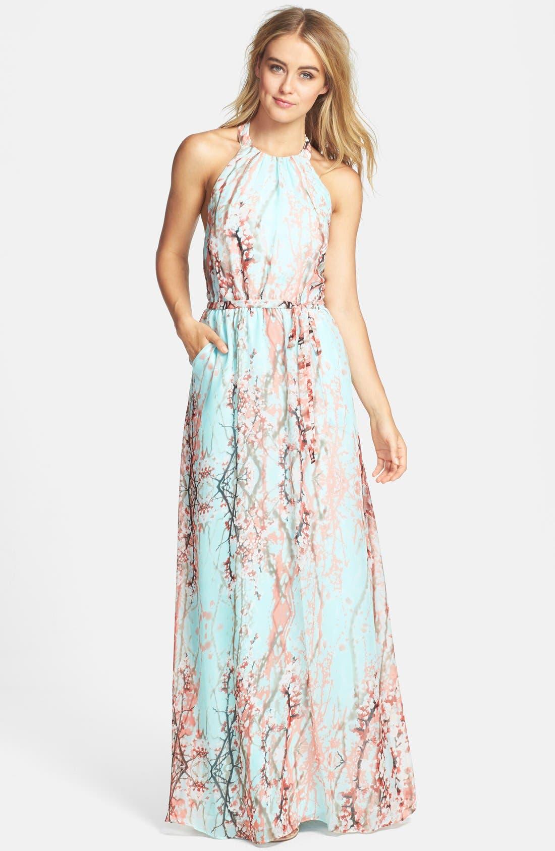 Jessica Simpson Print Chiffon Halter Maxi Dress | Nordstrom