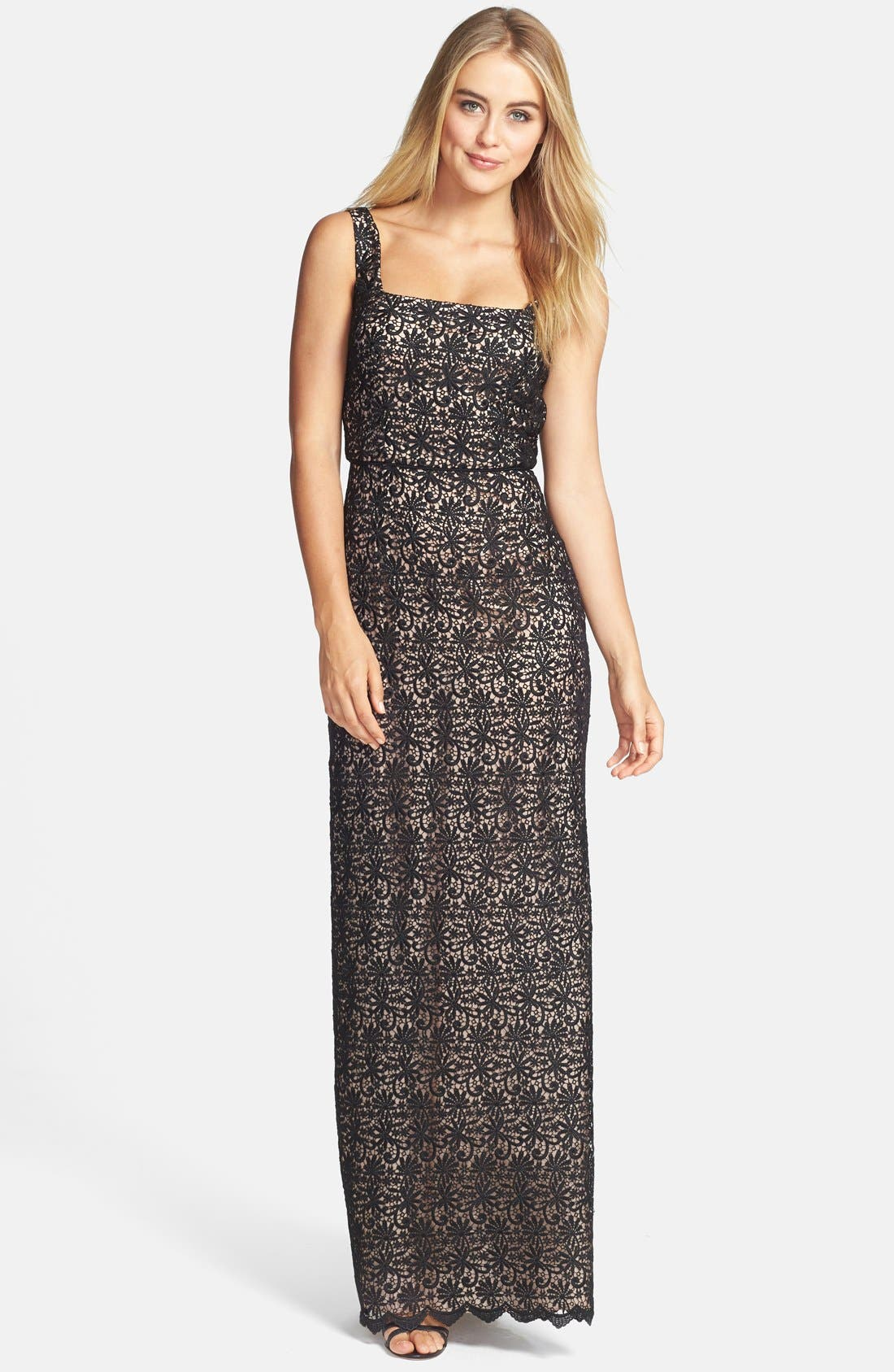 Venise Lace Column Gown,                         Main,                         color, Black/ Nude
