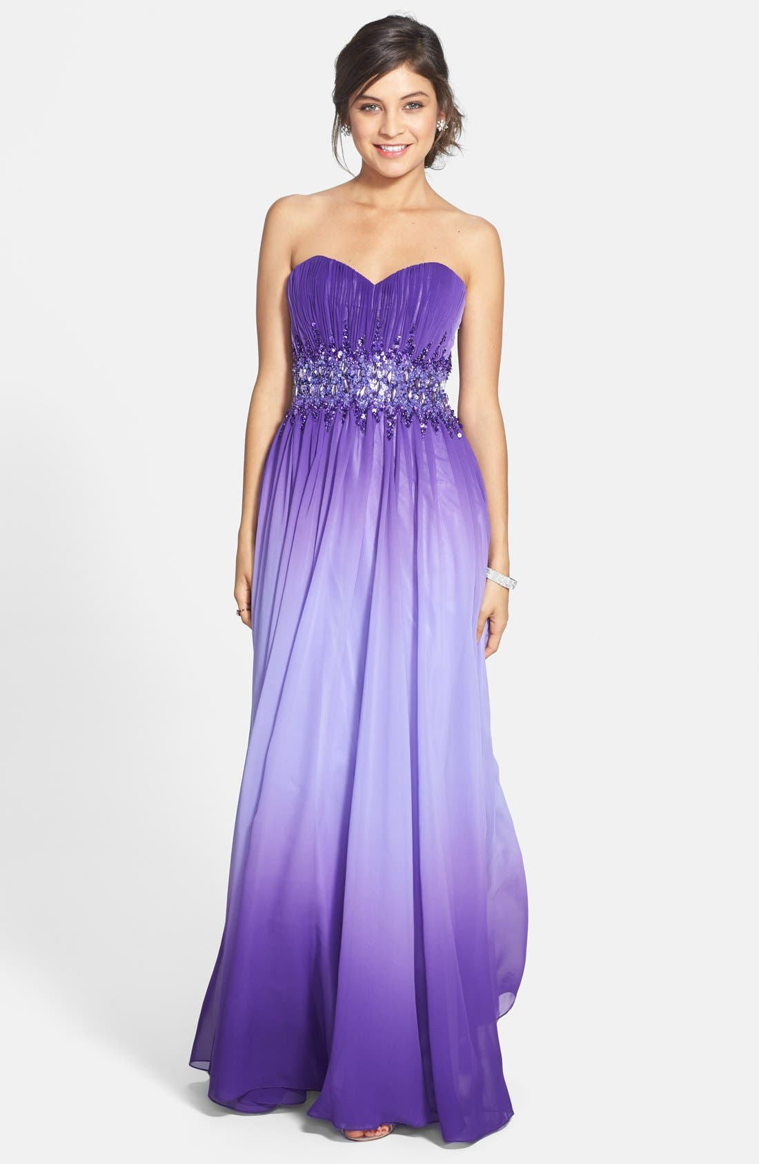 Main Image - Sean Collection Beaded Waist Strapless Ball Gown