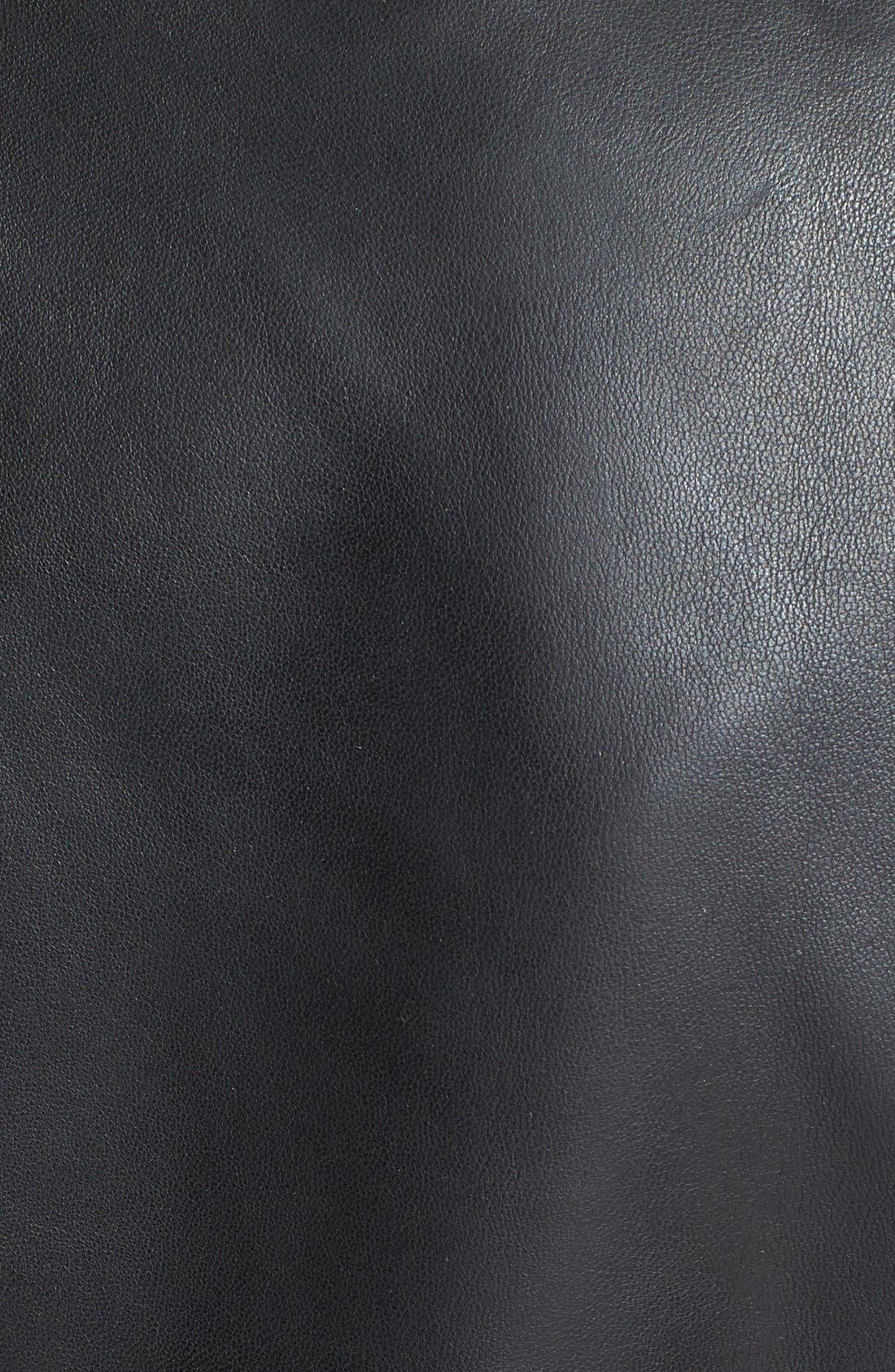 Alternate Image 3  - LaMarque Stripe Sleeve Detail Leather Jacket