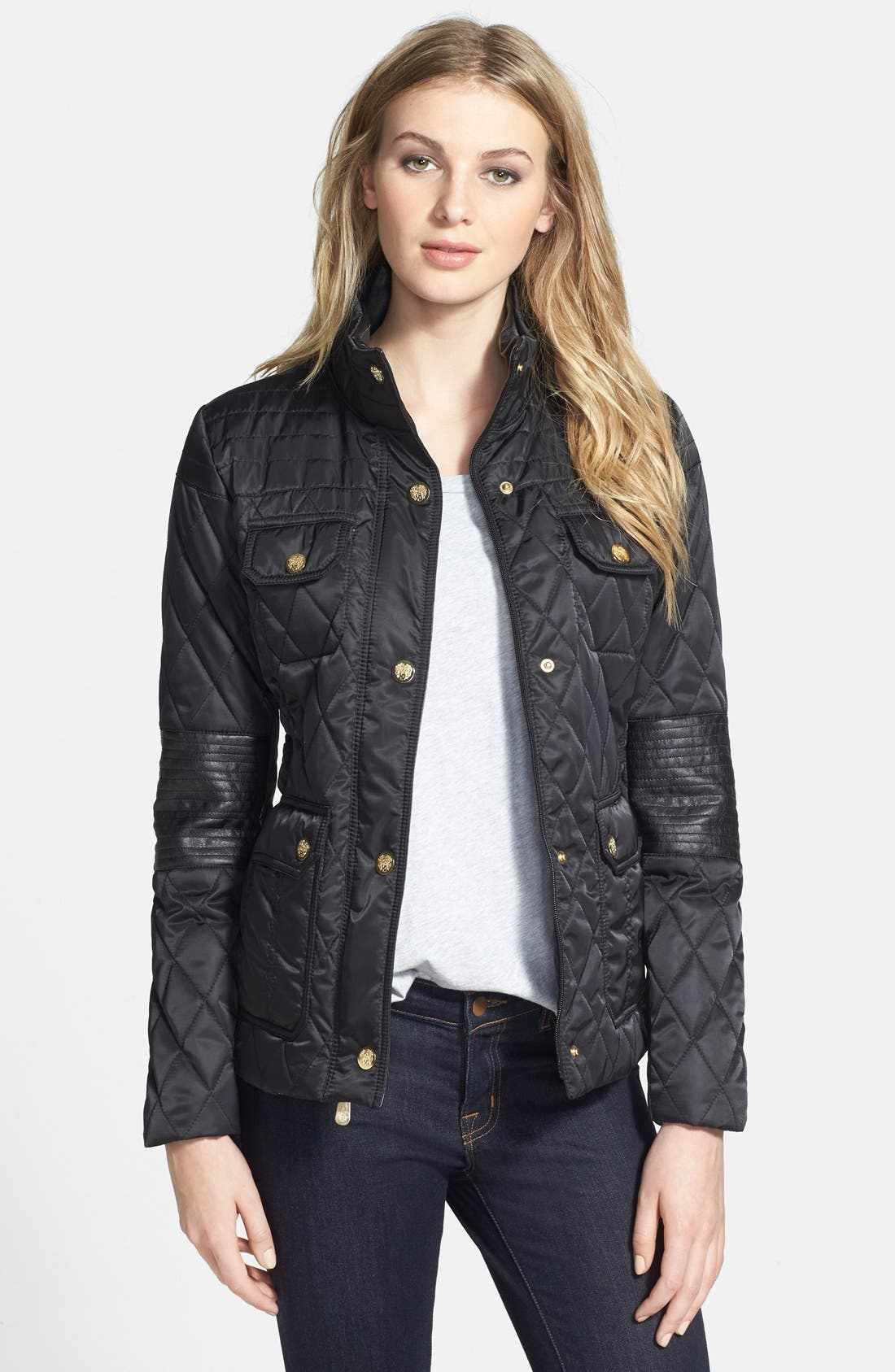 Main Image - Vince Camuto Faux Leather Elbow Detail Quilted Jacket
