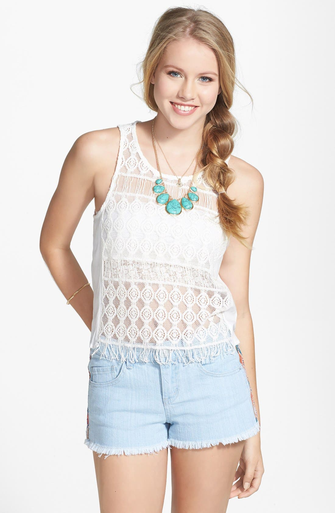 Alternate Image 1 Selected - Chloe K Sheer Crocheted Top (Juniors) (Online Only)