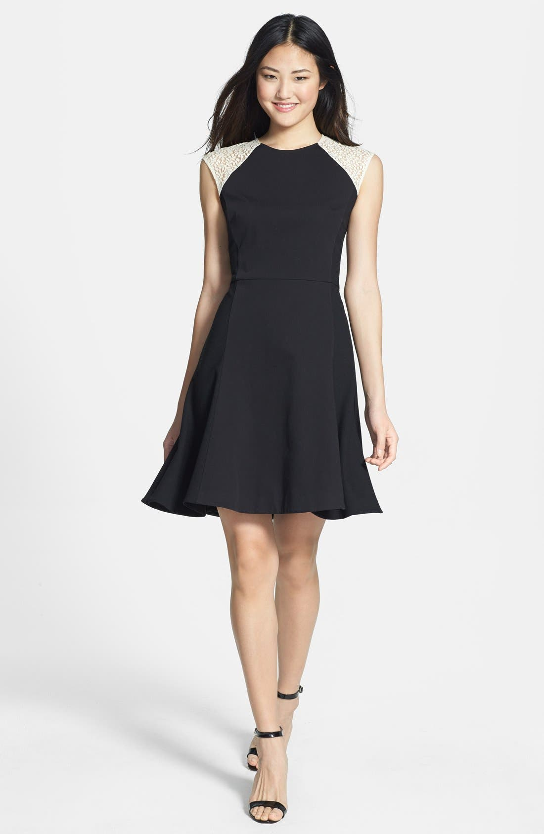 Alternate Image 1 Selected - DKNYC Cap Sleeve Fit & Flare Dress