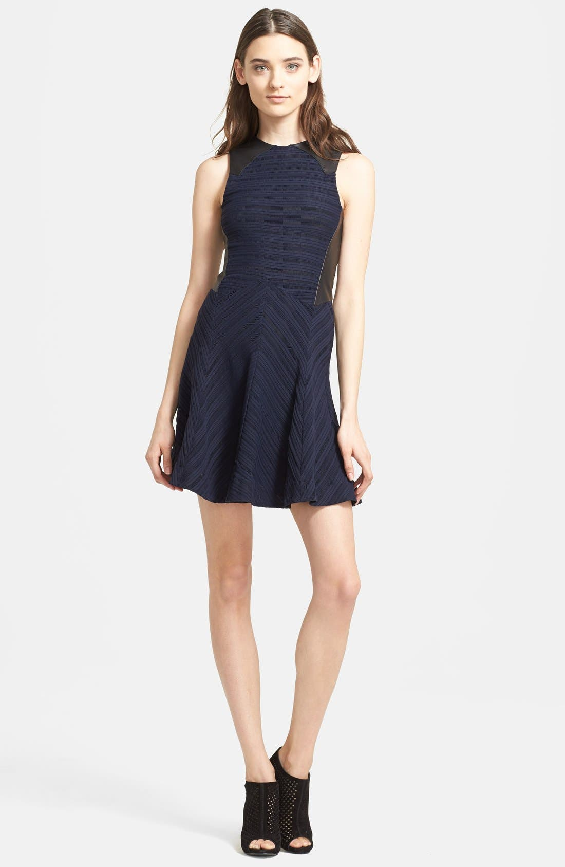 Main Image - rag & bone 'Basha' Leather Trim Dress