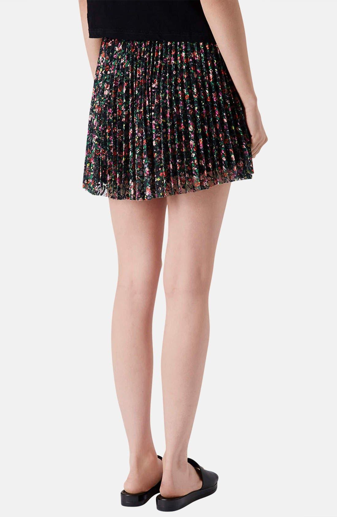Alternate Image 2  - Topshop Floral Lace Pleat Miniskirt
