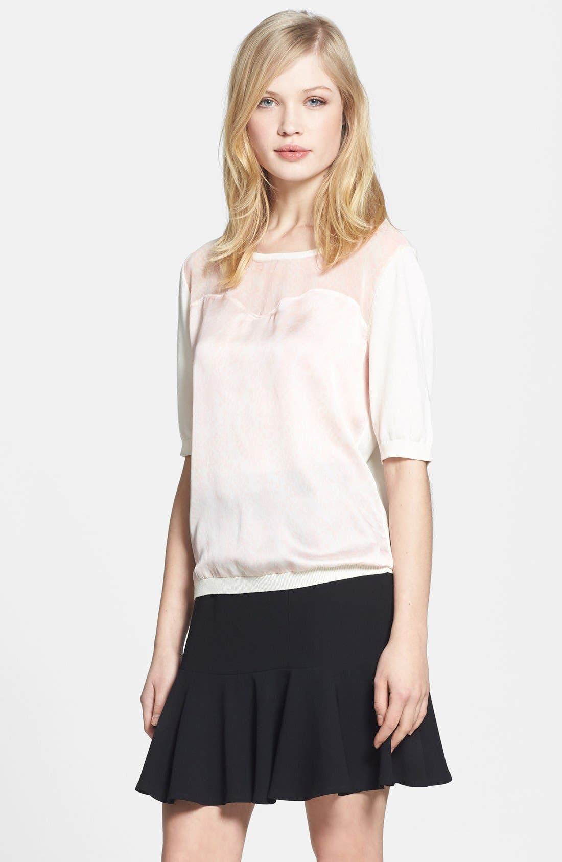 Alternate Image 1 Selected - Chelsea28 Woven Front Knit Sweater