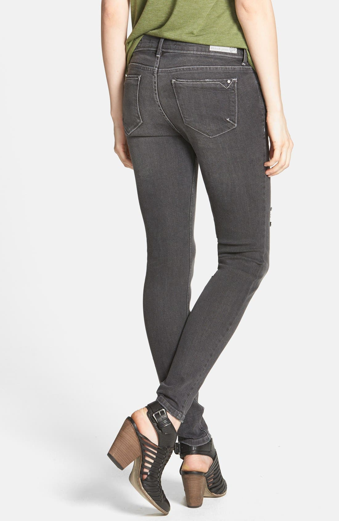 Alternate Image 2  - SP Black Destroyed Skinny Jeans (Dark Grey) (Juniors)