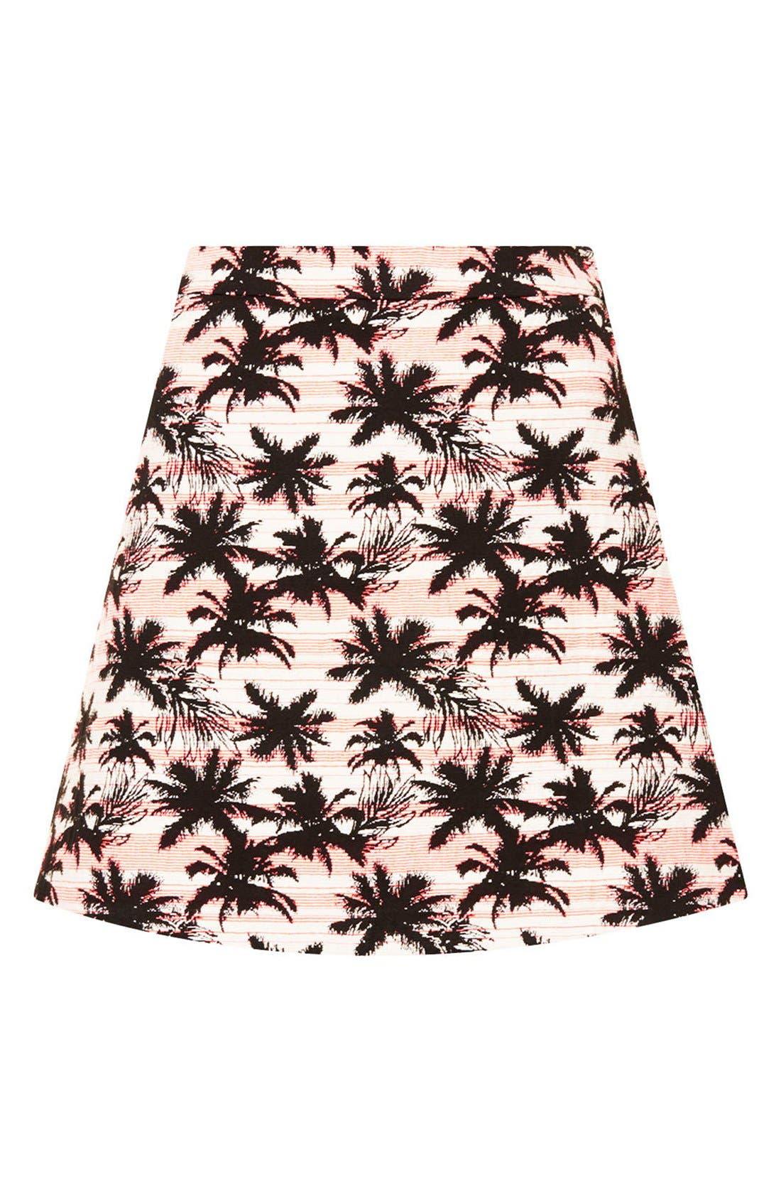 Alternate Image 3  - Topshop Palm Jacquard A-Line Skirt