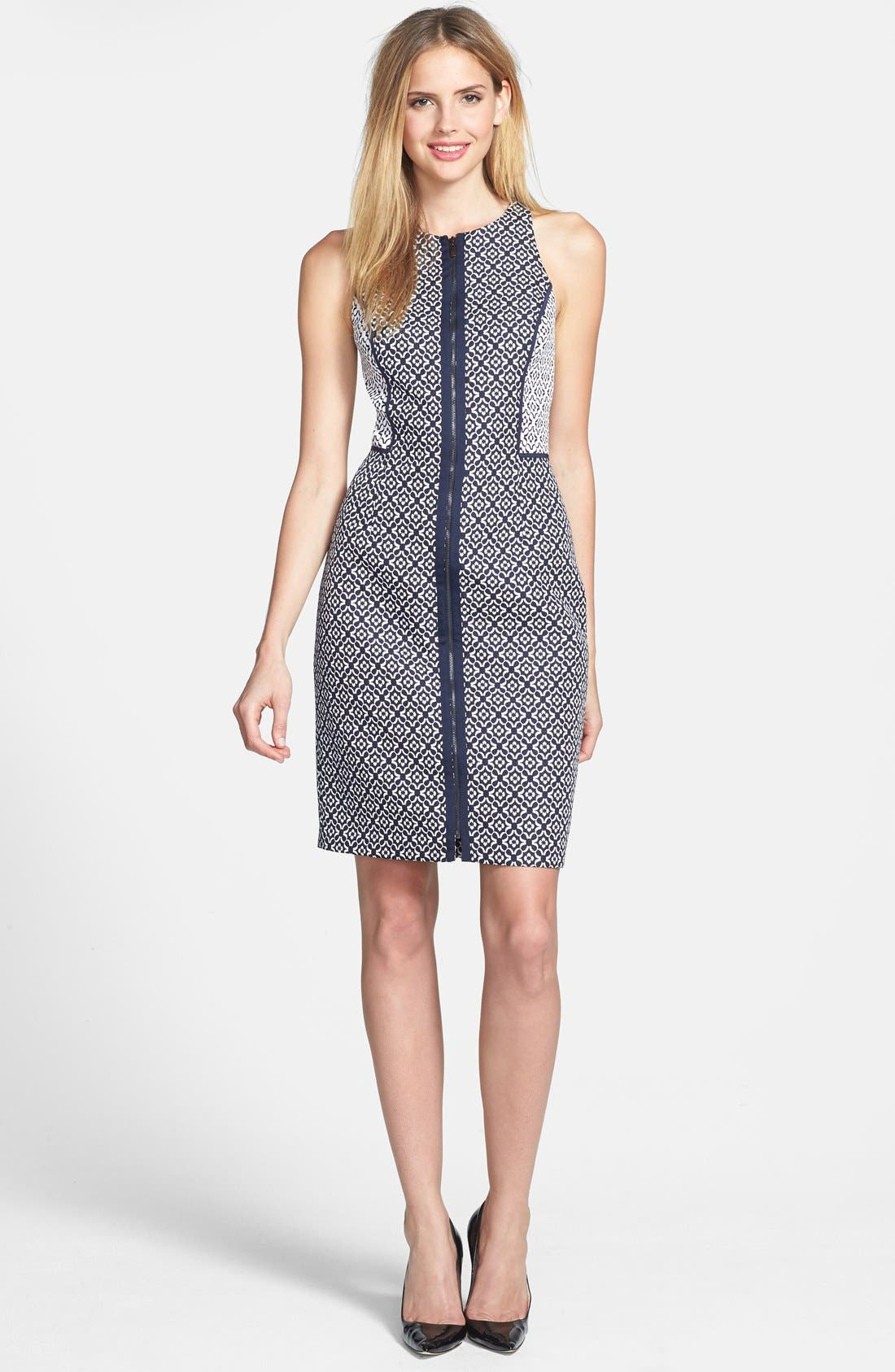 Alternate Image 1 Selected - Laundry by Shelli Segal Front Zip Jacquard Sheath Dress