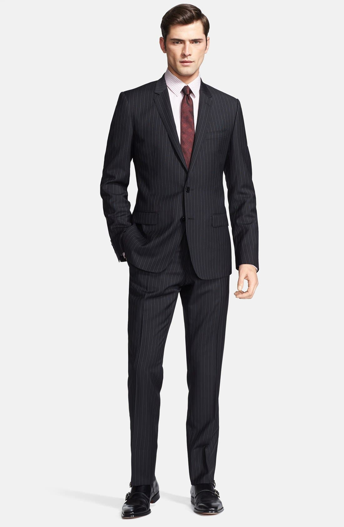 Alternate Image 1 Selected - Dolce&Gabbana 'Martini' Black Stripe Wool Suit