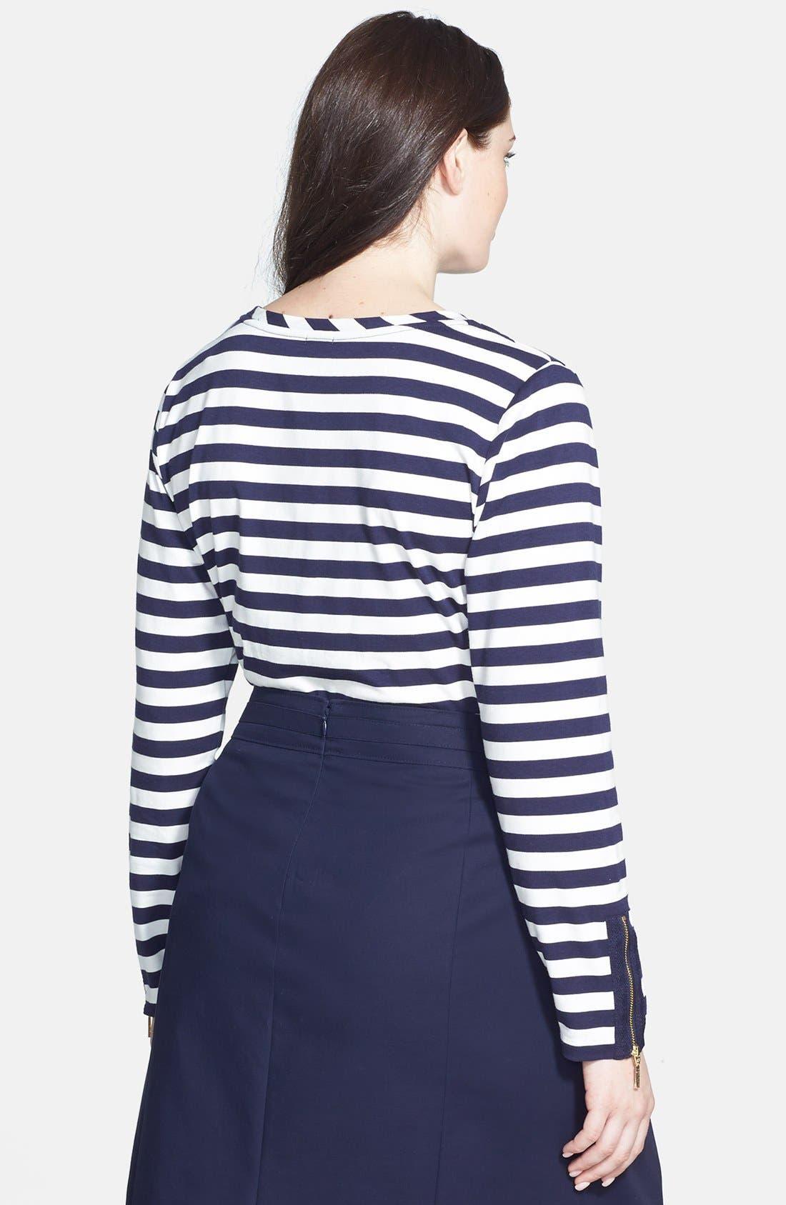 Alternate Image 2  - Anne Klein Zip Detail Stripe Stretch Knit Top (Plus Size)