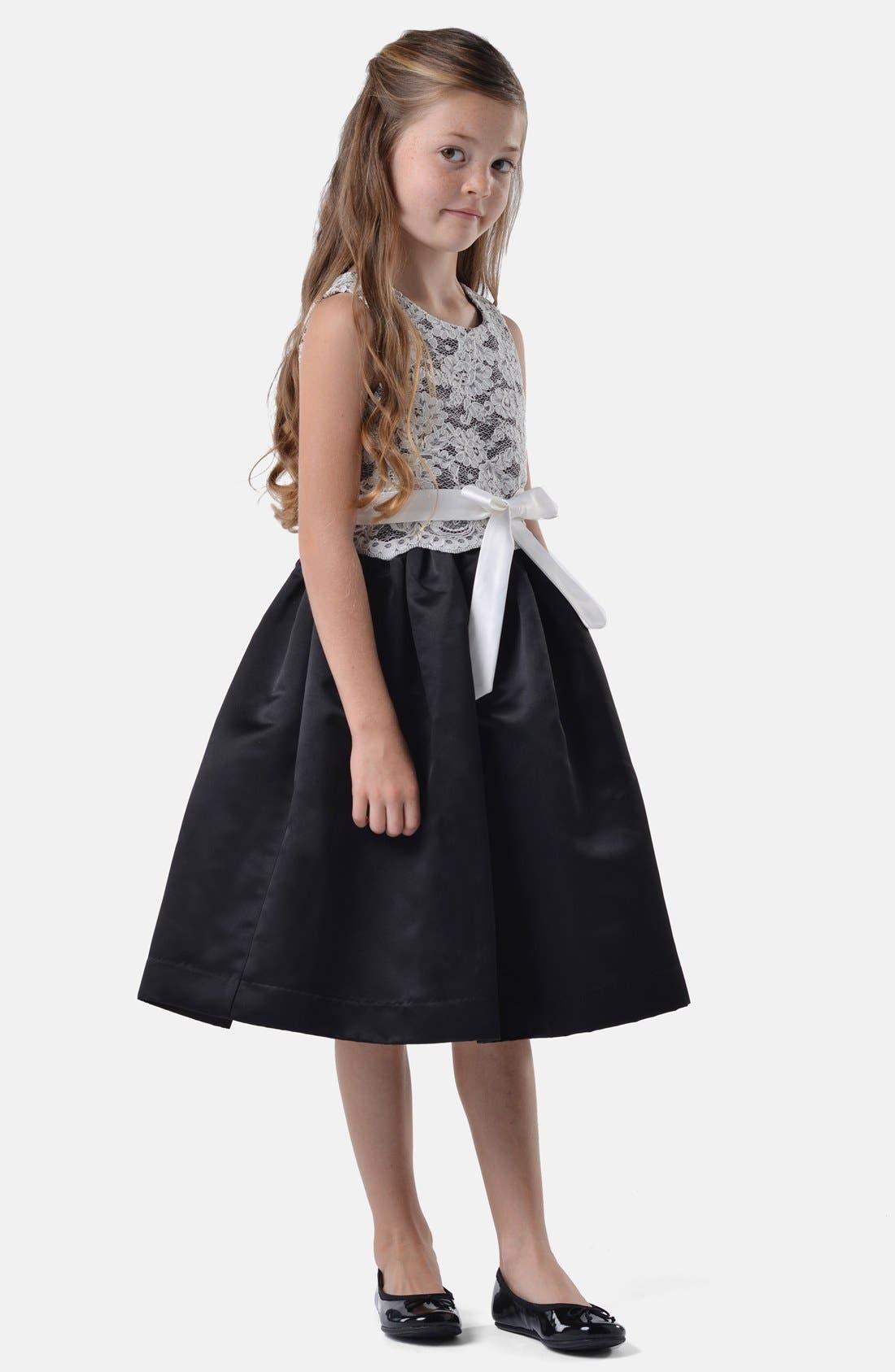 Lace Dress,                         Main,                         color, Ivory/ Black
