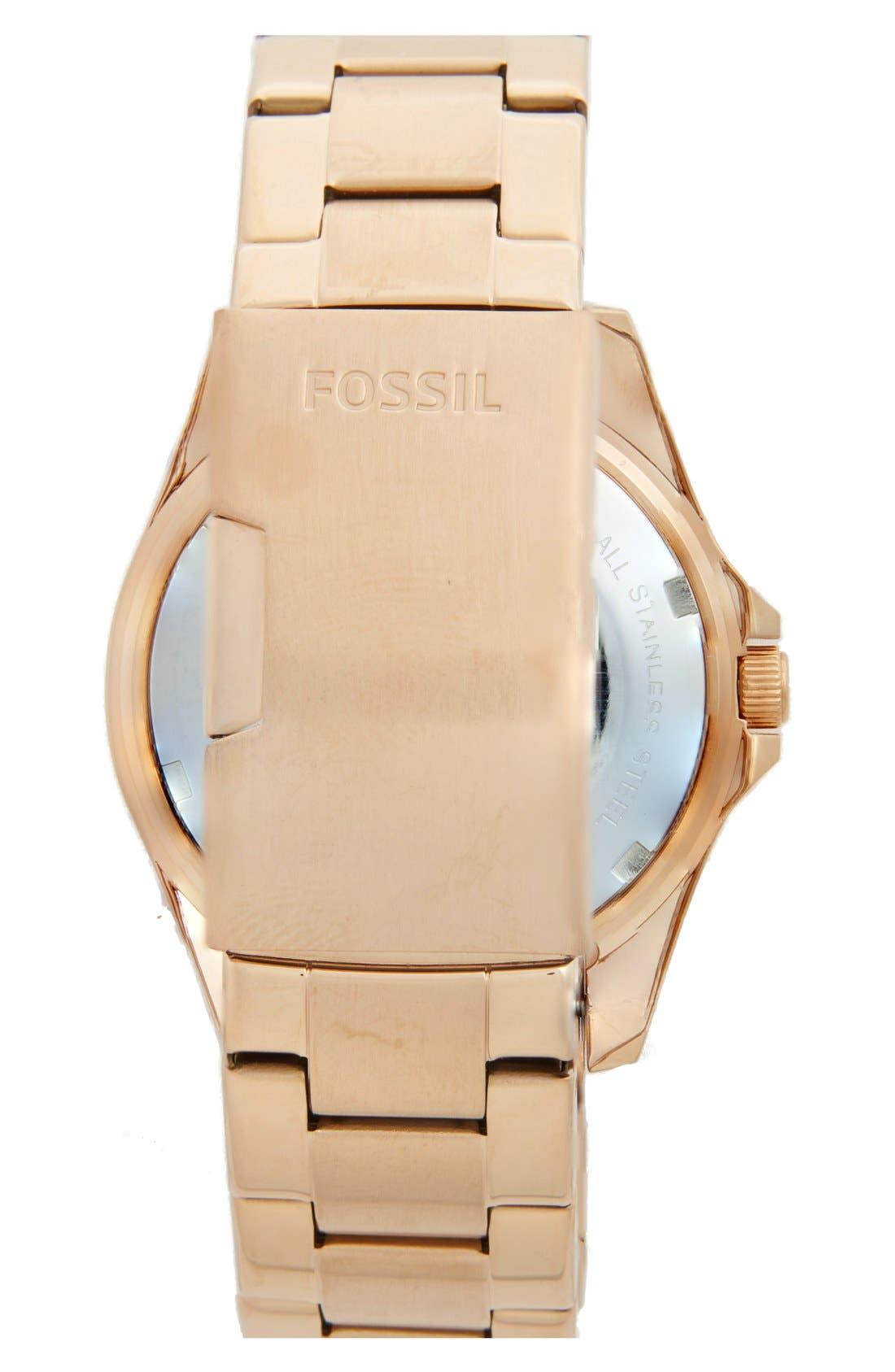 Alternate Image 2  - Fossil 'Riley' Round Crystal Bezel Bracelet Watch, 38mm