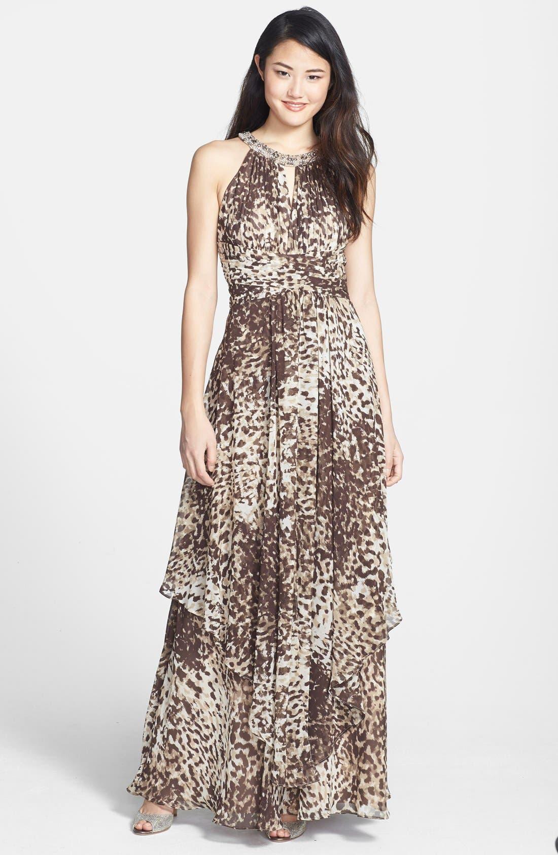 Main Image - Eliza J Embellished Cutaway Tiered Chiffon Gown