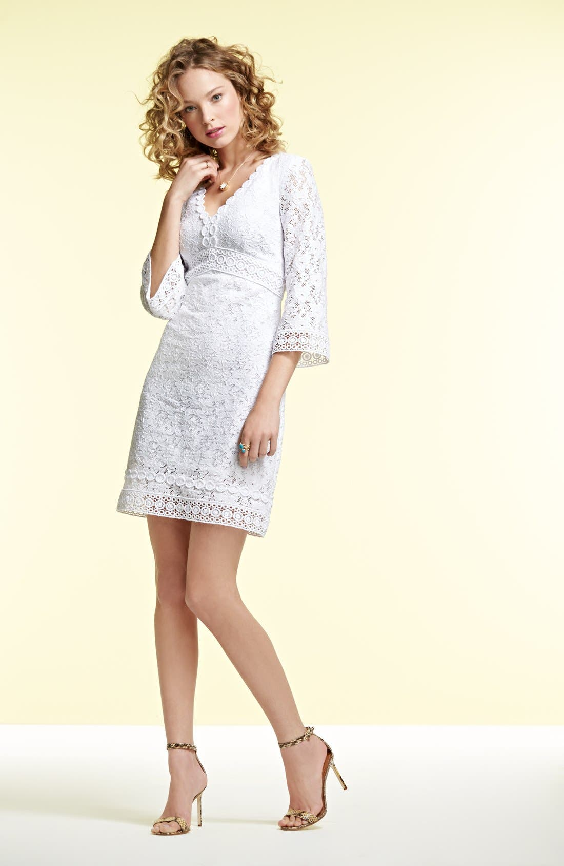 Alternate Image 5  - Laundry by Shelli Segal Back Cutout Lace Shift Dress (Regular & Petite)