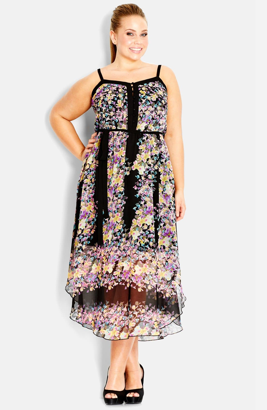Alternate Image 1 Selected - City Chic Floral Chiffon Maxi Dress (Plus Size)