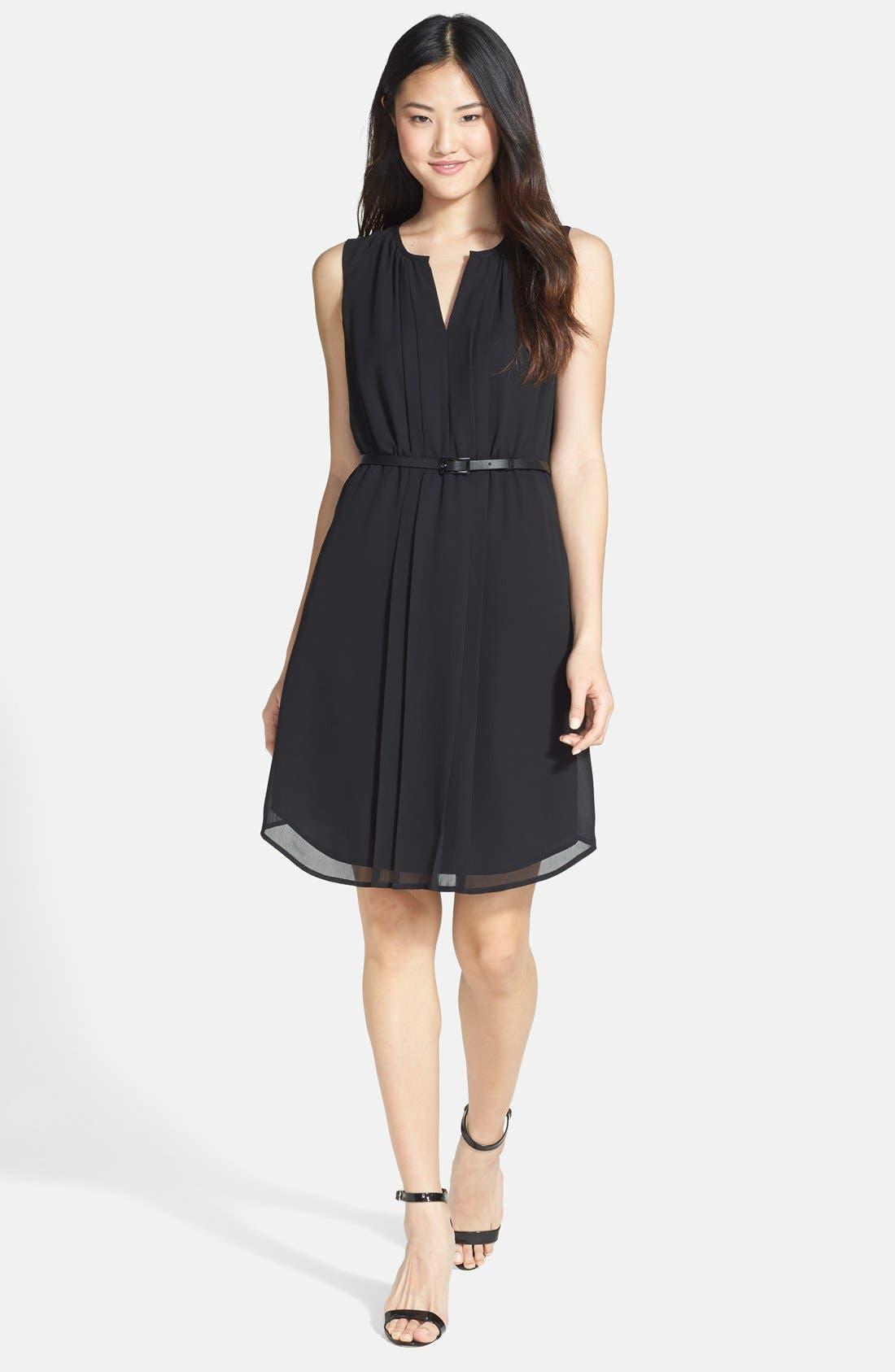 Alternate Image 1 Selected - Halogen® Belted Pleat Front Dress (Regular & Petite)