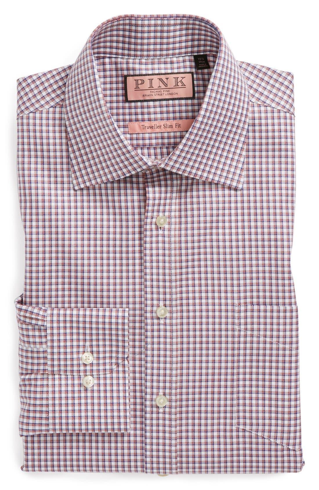 Main Image - Thomas Pink 'Cantwell' Slim Fit Traveler Check Non-Iron Dress Shirt