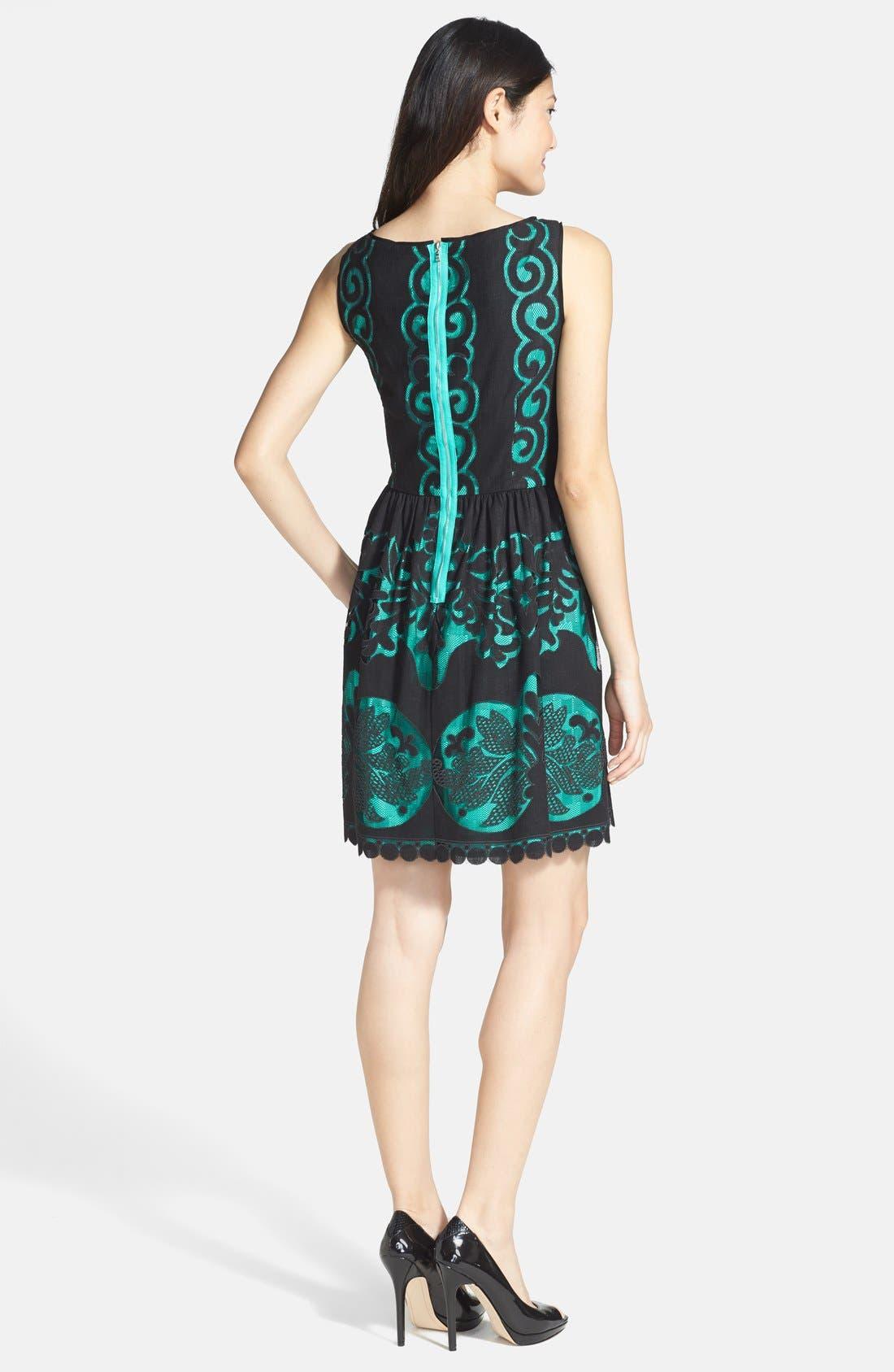 Alternate Image 2  - Ivy & Blu Burnout Lace Fit & Flare Dress