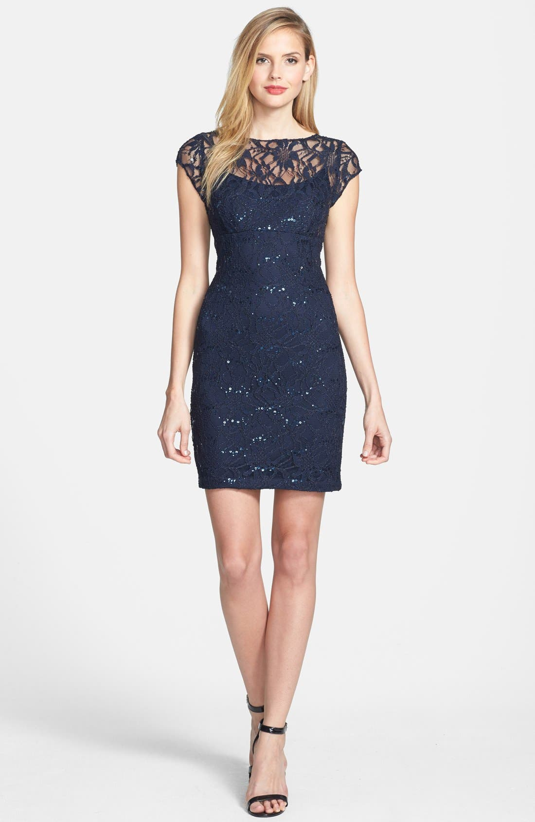 Alternate Image 3  - Hailey by Adrianna Papell Embellished Lace Sheath Dress (Online Only)