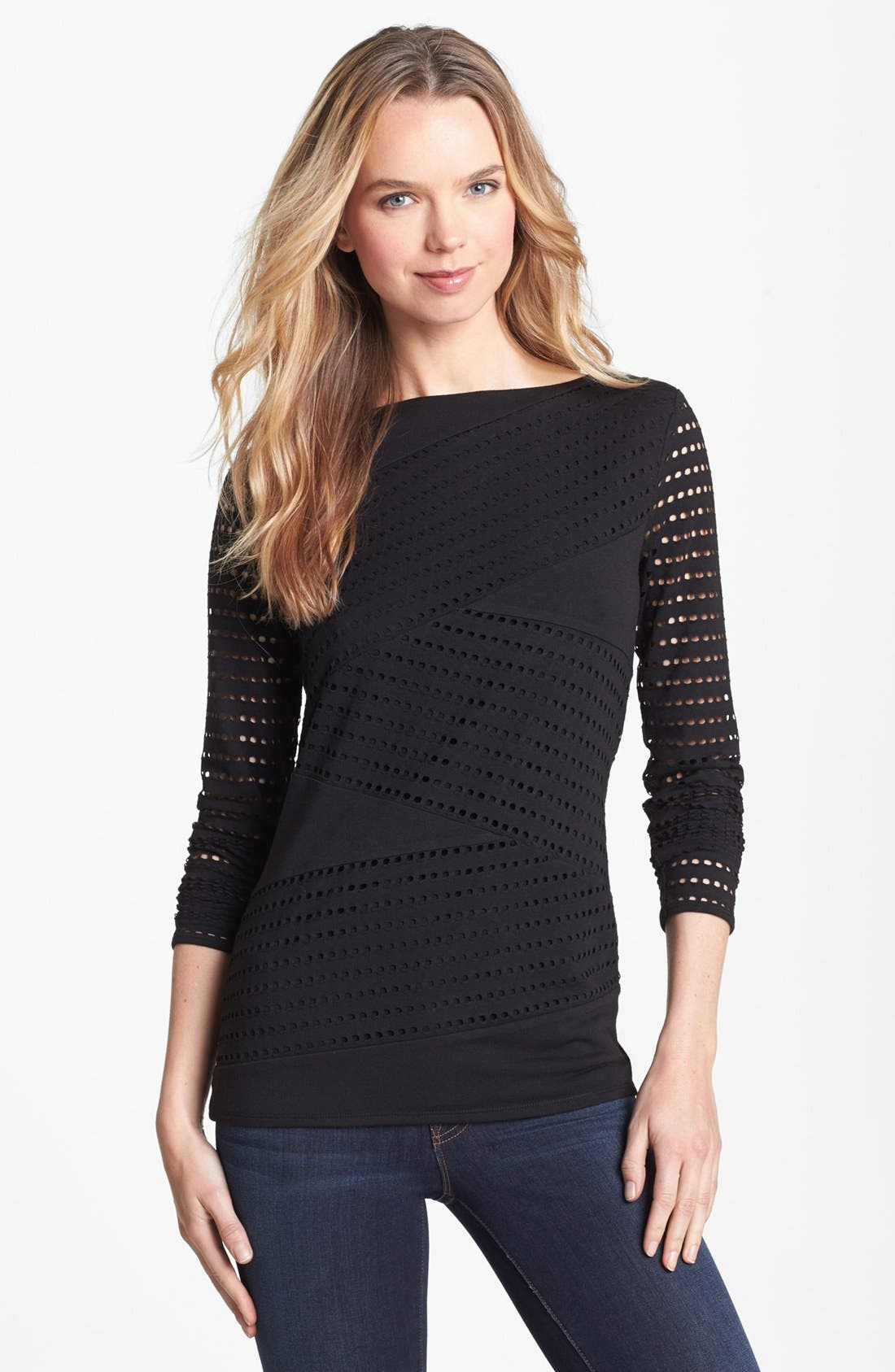 Main Image - Vince Camuto Perforated Zigzag Top (Petite)