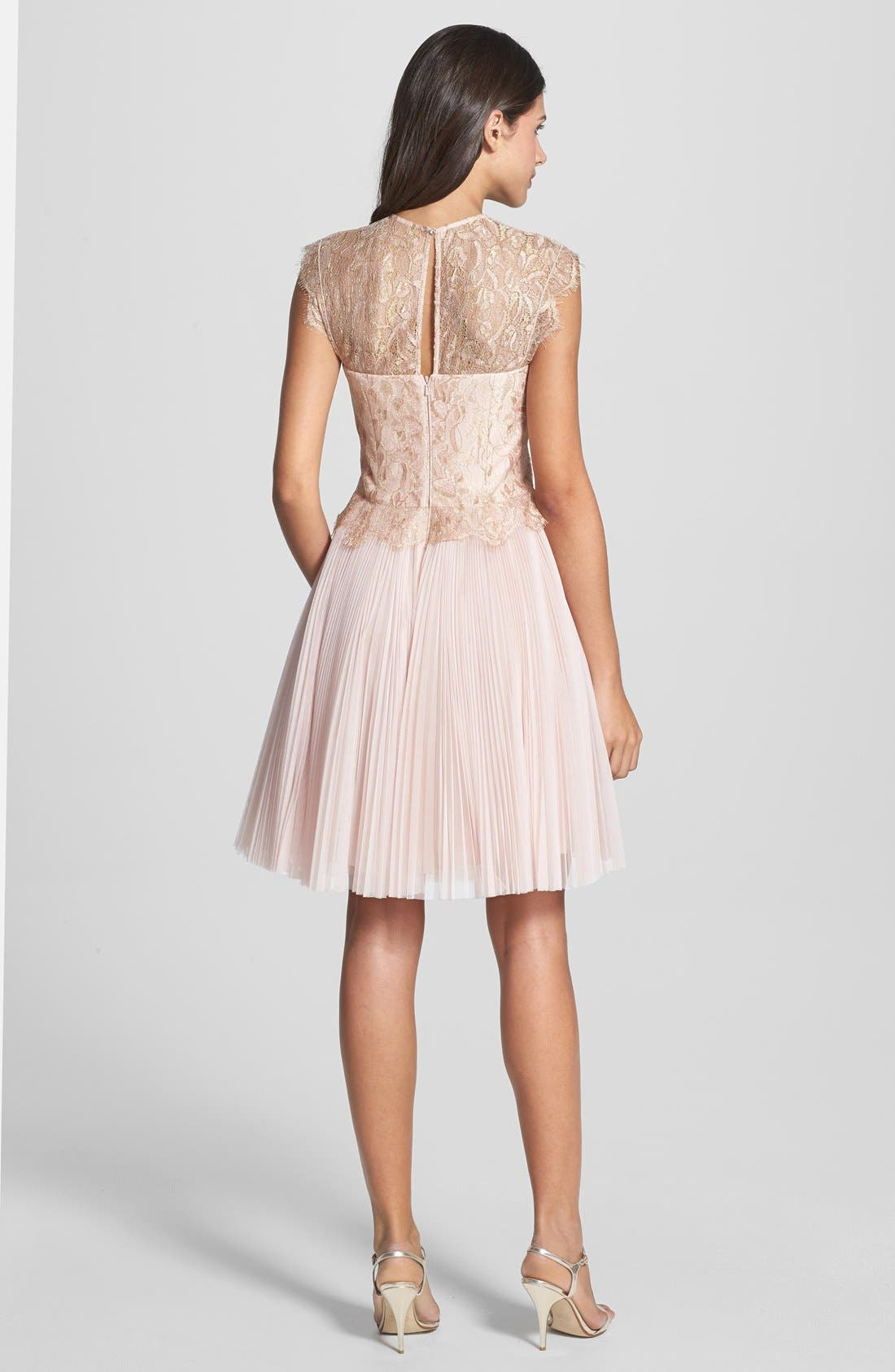 'Remma' Metallic Lace Overlay Fit & Flare Dress,                             Alternate thumbnail 2, color,                             Nude Pink