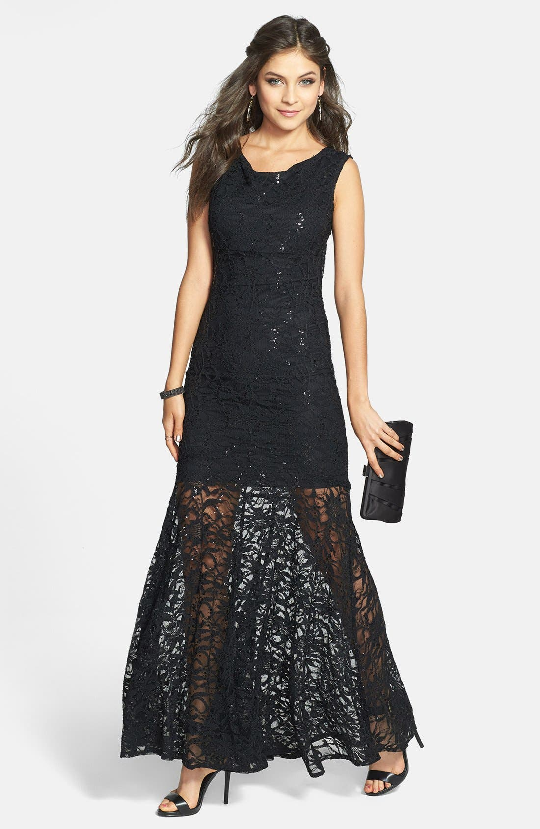 Alternate Image 1 Selected - Jump Apparel Open Back Lace Trumpet Gown (Juniors)