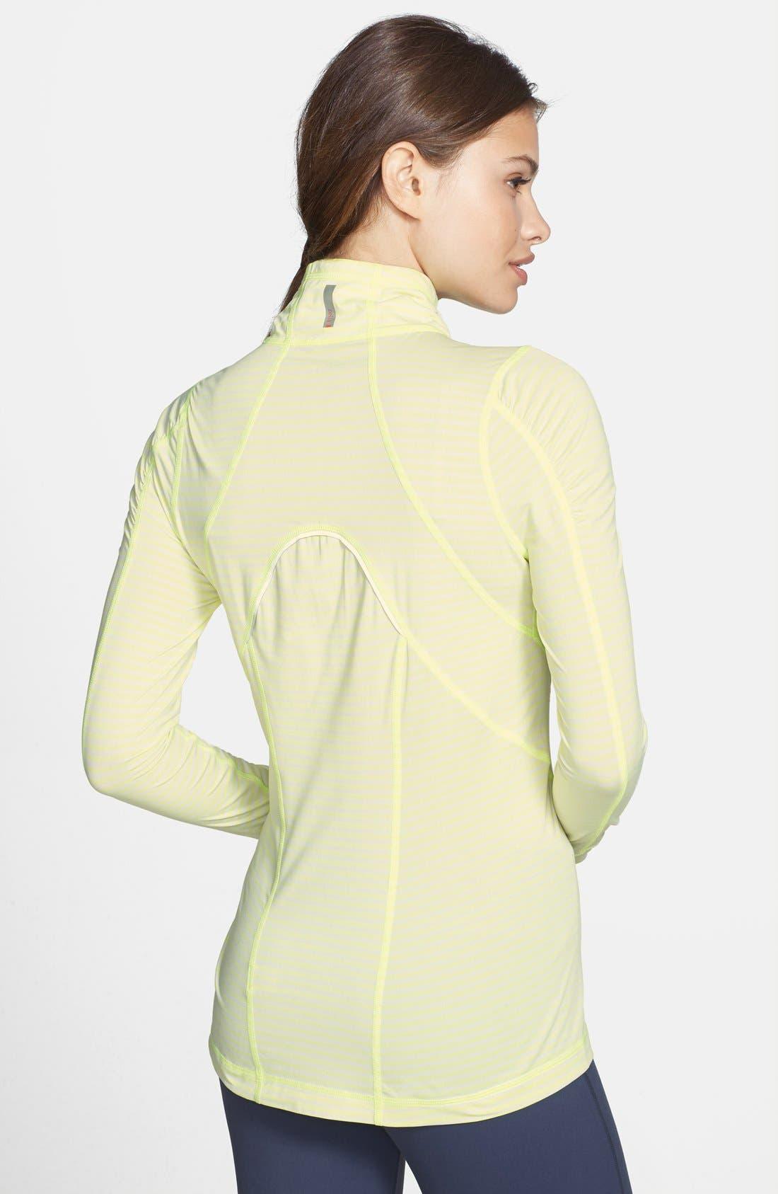 'Run' Stripe Half Zip Pullover,                             Alternate thumbnail 2, color,                             Lime Zest