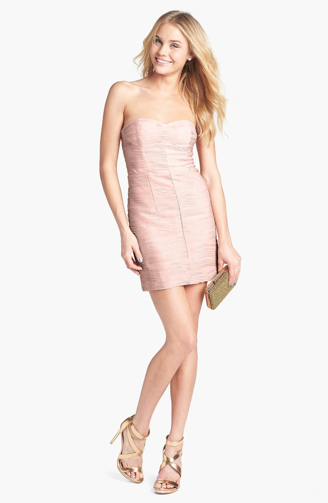Main Image - Hailey Logan Textured Body Con Dress (Juniors)
