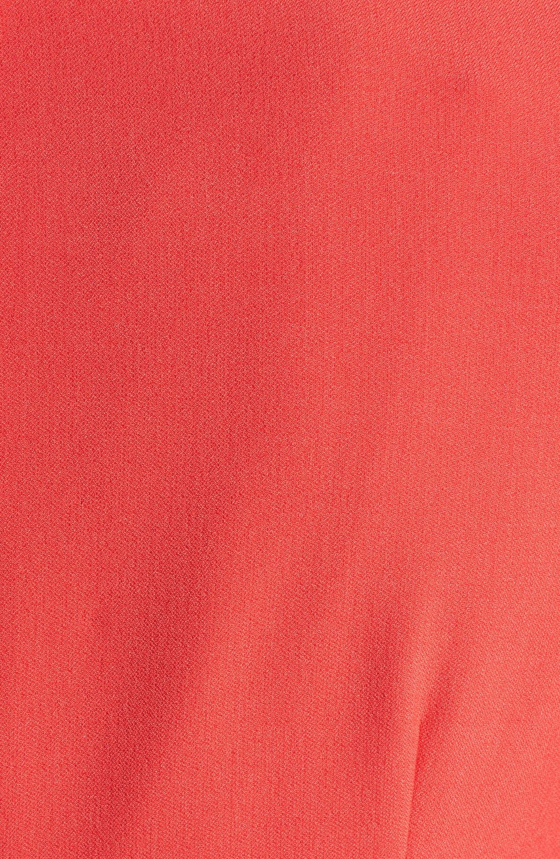 Asymmetric Waist Stretch Crepe Sheath Dress,                             Alternate thumbnail 3, color,                             Cayenne