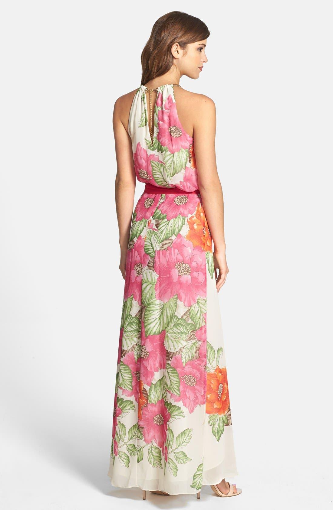 Alternate Image 2  - Eliza J Cutaway Floral Print Maxi Dress